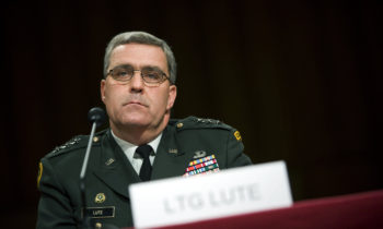WASHINGTON  - JUNE 7:  Army Lt. Gen. Douglas Lute listens to a question during his confirmation hearing before the Senate Armed Services Committee on Capitol Hill June 7, 2007 in Washington, DC. Lt. Gen. Lute has been nominated by US President George W. Bush to be the Assistant to the President and Deputy National Security Adviser for Iraq and Afghanistan.   (Photo by Brendan Smialowski/Getty Images) *** Local Caption *** Douglas Lute