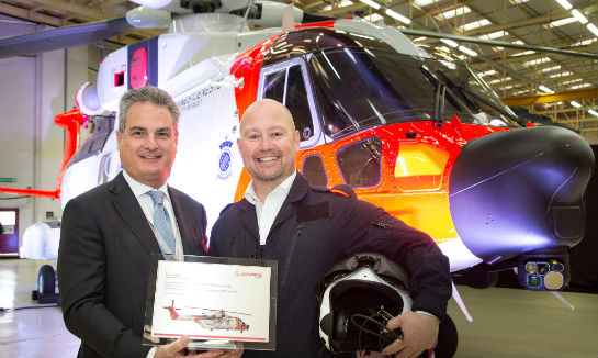 Anders Anundsen, Norway's Minister of Justice and Public Security, unveiled the AgustaWestland AW101 Norwegian all-weather search-and-rescue (SAR) helicopter during a roll out ceremony held at Leonardo Helicopters' Yeovil facility in southwest England. Leonardo-Finmeccanica Photo