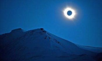 Total eclipse over Svalbard islands in Arctic