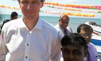 Jaffna Tamil journalist Mr.Kugan  with Norway's Foreign Affairs Ministry State Secretary.