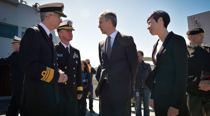 NATO Secretary General Jens Stoltenberg and the Minister of Defence of Norway, Ine Eriksen Soreide on board of the frigate Aquitaine