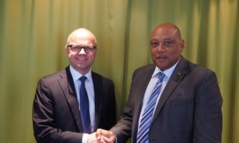 Norway's Minister of Climate and Environment, Vidar Helgesen, and Guyana's Minister of Natural Resources, Raphael Trotman, reiterated their commitment to reach their shared goals as set out in the bilateral partnership on climate and forest. Credit: Ministry of Climate and Environment