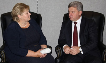 Macedonian President Meets with Norwegian Prime Minister at 71st UNGA