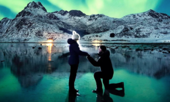 LOVE in front of Northern Lights