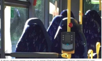 Norwegian anti-immigrant group mistakes picture of bus seats for women in burkas