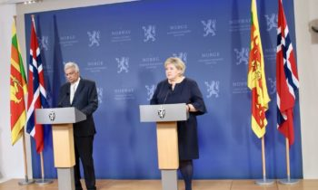 Sri lankan prime minister and Norwegian prime minister at press meeting in Oslo