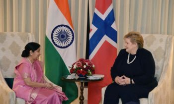 Indian External Affairs Minister and Norwegian Prime Minister Erna Solberg discussed ways of expanding bilateral ties