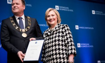 Former U.S. Secretary of State Hillary Clinton recognized as an honorary doctorate at BI