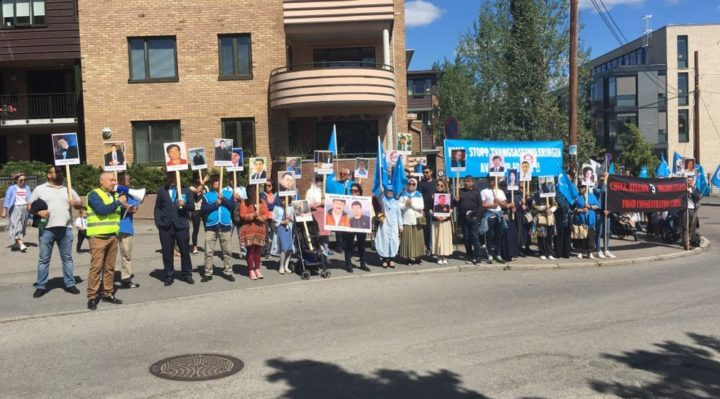 Uighurs protest outside Chinese embassy in Oslo