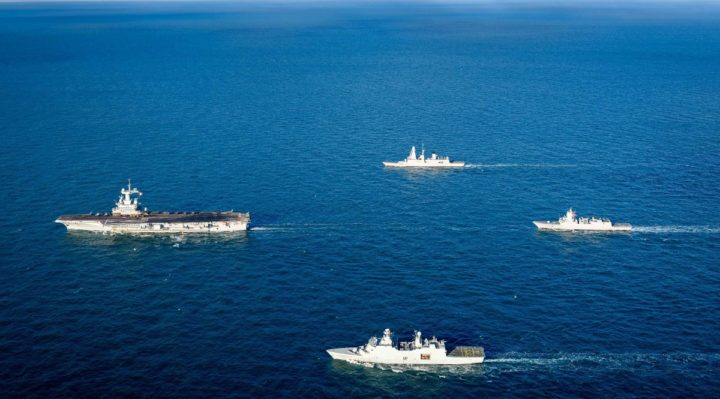 NATO forces conduct drills with French Carrier Strike Group